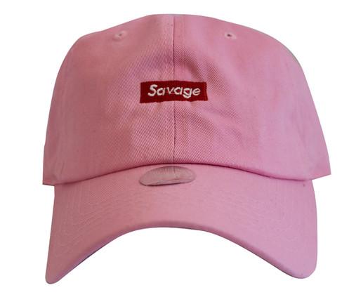 b68344cb964 Supreme Savage Box Logo Pink Twill Cotton 21 Savage Low Profile Dad Hat