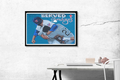 Urban Graffiti Poster Nolan Ryan Headlock Art Texas Rangers Style Wall Decor