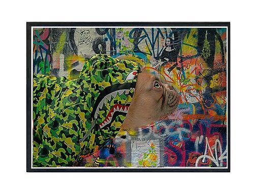 Hypebeast Dog Graffiti Green Poster Printable