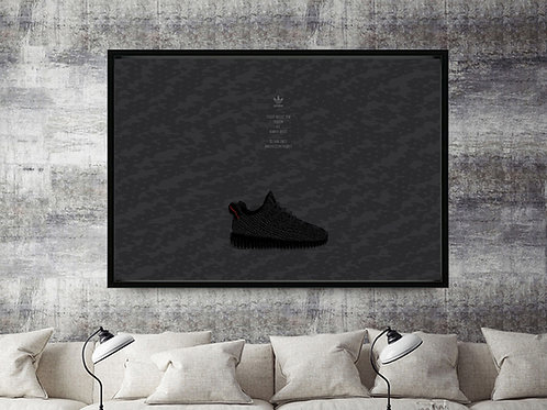 Yeezy Boost 350 Pirate Black Shadow Custom Kicks Sneaker 12x18 Poster Wall Art