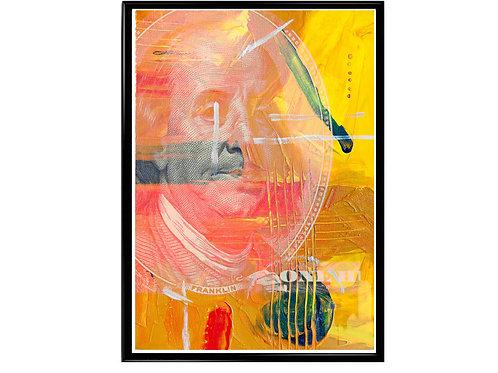 Abstract Ben Franklin Poster, Hypebeast Poster, Modern Pop Art Poster