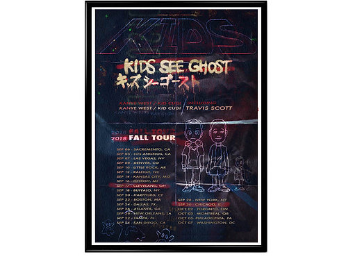 Kids See Ghost Tour Poster, Hypebeast Posters Prints, Yeezy Kid Cudi Print