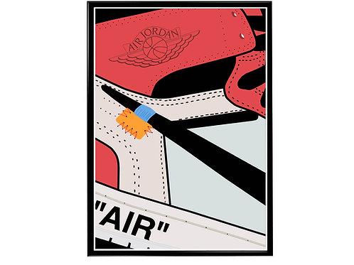 Off White x Air Jordan 1 Rd Sneaker Poster, Hypebeast Poster, Modern Pop Art