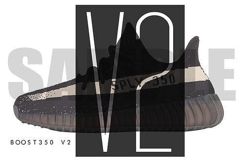 Yeezy Boost 350 V2 Bk/Wt. Custom Kicks Sneaker 12x18 Poster Art