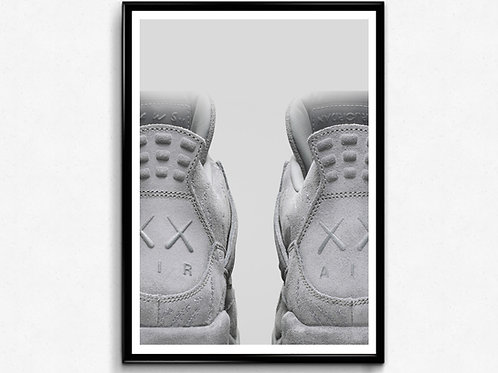 Kaws x Jordan 5 Sneaker Poster, Hypebeast Poster Art, Wall Decor