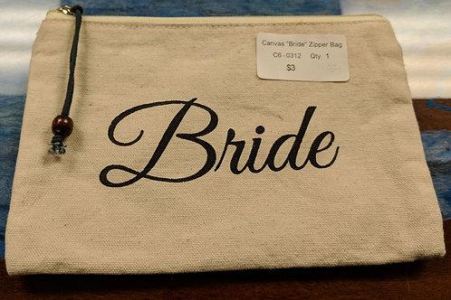 """Canvas """"Bride"""" Zipper Bag"""