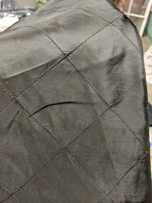 "120"" Round Taffata Pintuck Tablecloth - Black"