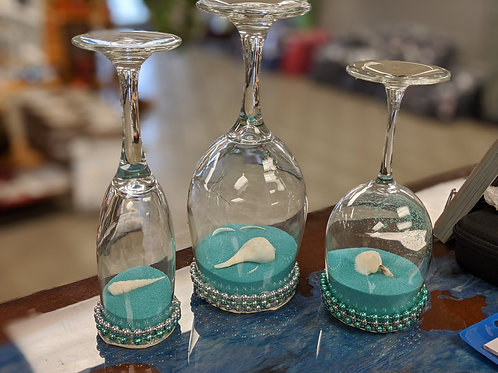 Set of 60 Glass Teal Sand & Shell Centerpieces