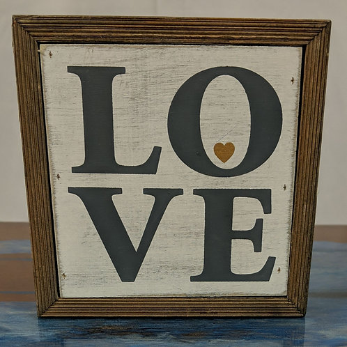 "5"" Square LOVE Wood Box Sign"