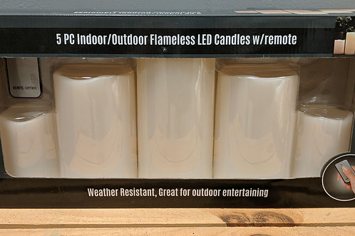 5pc Indoor/Outdoor Flameless LED Candles w/Remote