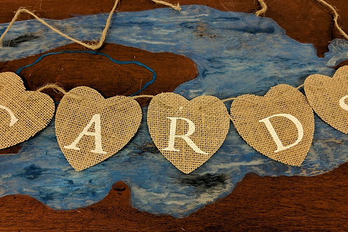 "Burlap Hearts ""CARDS"" Banner"