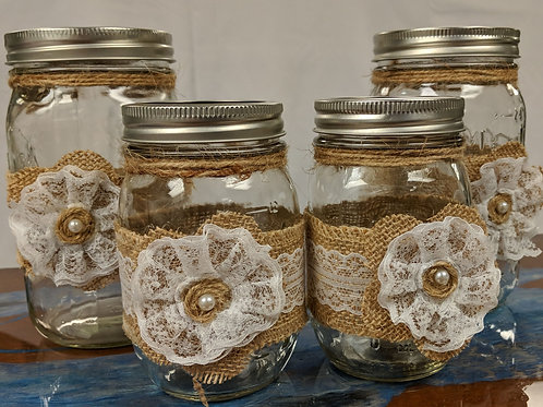 Set of 4 Burlap & Lace Jars