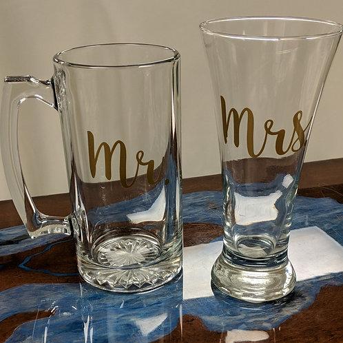Mr & Mrs Beer Glass Set