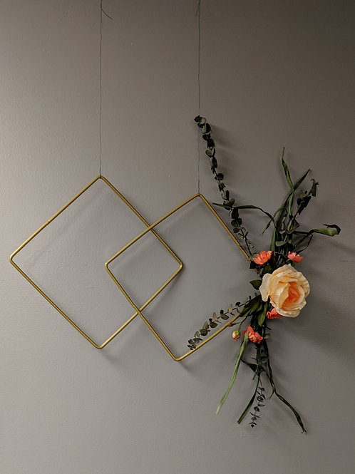 Gold & Floral Geometric Hanging Decor