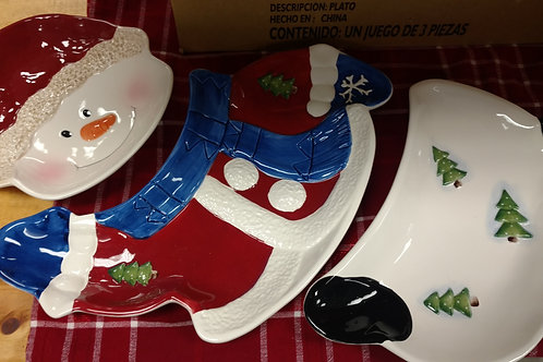 3pc Snowman Tray - Home Interior
