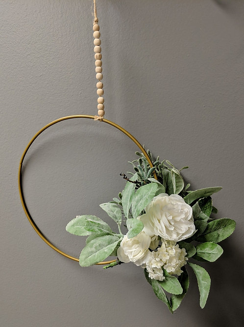 Gold & Floral Hanging Hoop