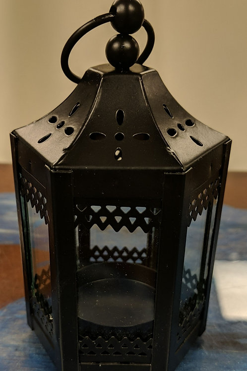 "Set of 12 - 5"" Black Tealights Lantern"
