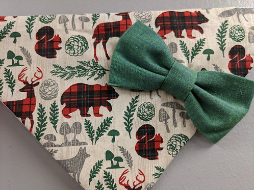 Woodland Critters Bandanna with Green Bowtie