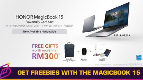 Enjoy Free Gifts Worth RM300 with the HONOR MagicBook 15