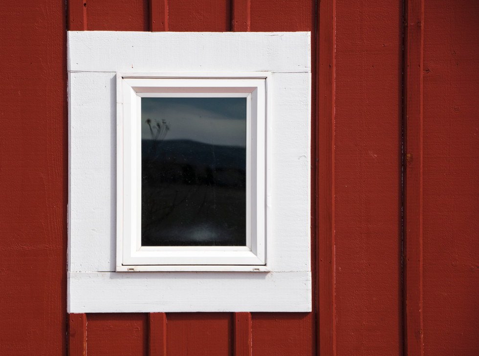 White Window Against Red