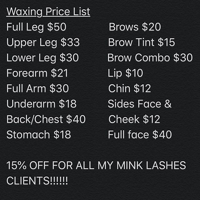 Waxing Service Pricing
