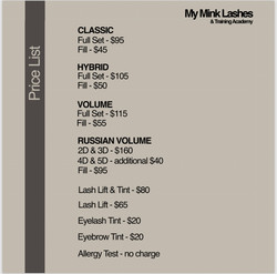 My Mink Lashes Price list