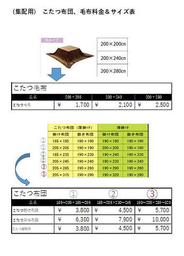 こたつ布団 料金.JPG