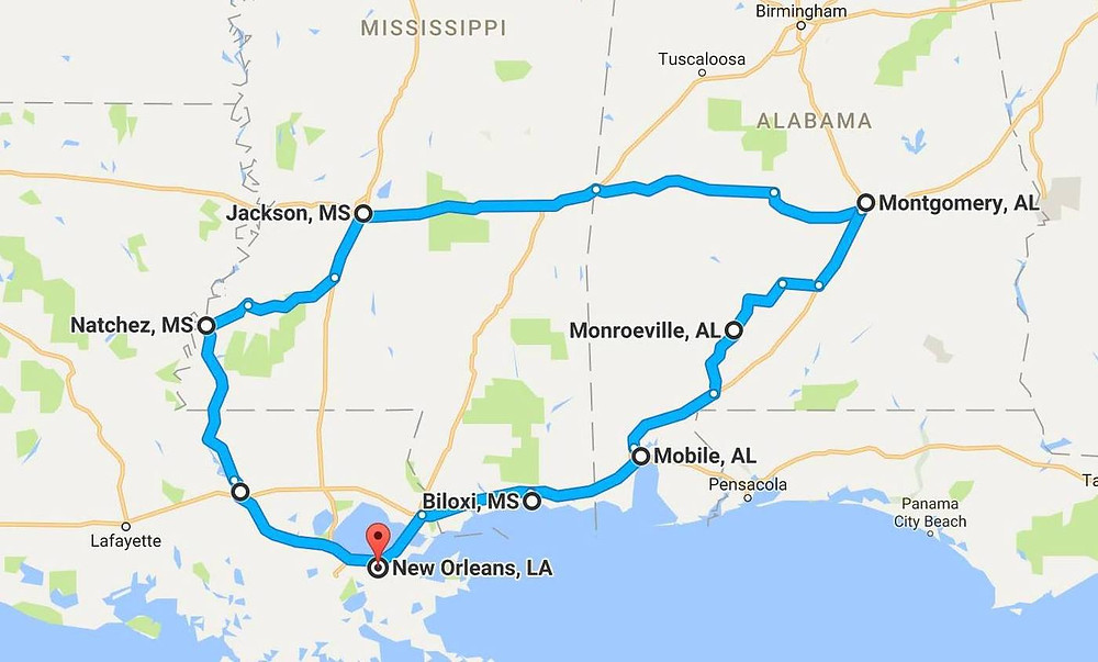 Route through the Deep South