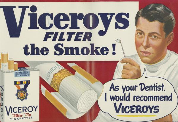 Publicité pour des filtres de cigarettes, années 50, recommandation d'un dentiste pour cette marque