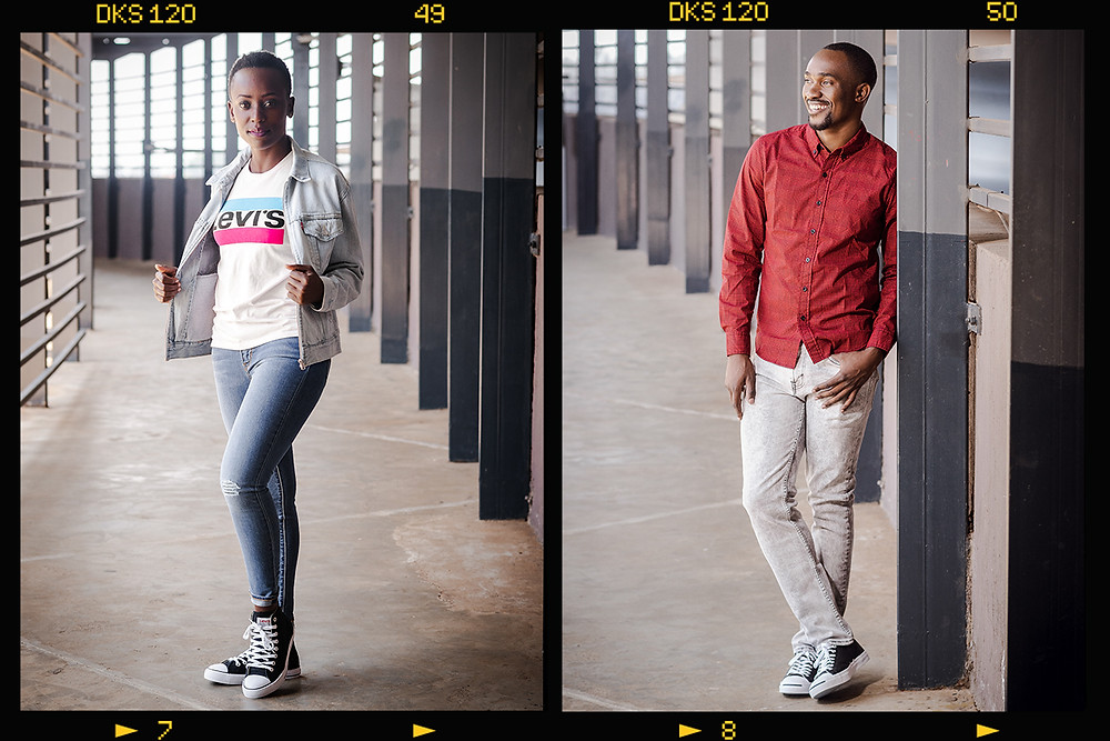 boy and girl modelling Levi t-shirt, jeans, jacket, shirt and shoes at two rivers mall Nairobi Kenya. picture taken by ON Photography