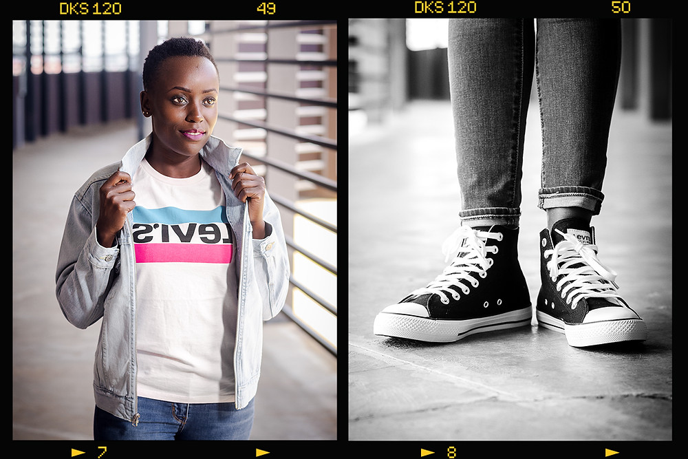 female model modelling Levi t-shirt and jeans jacket at two rivers mall and black and white picture of feet wearing Levi jeans and shoes. Picture taken by ON Photoraphy