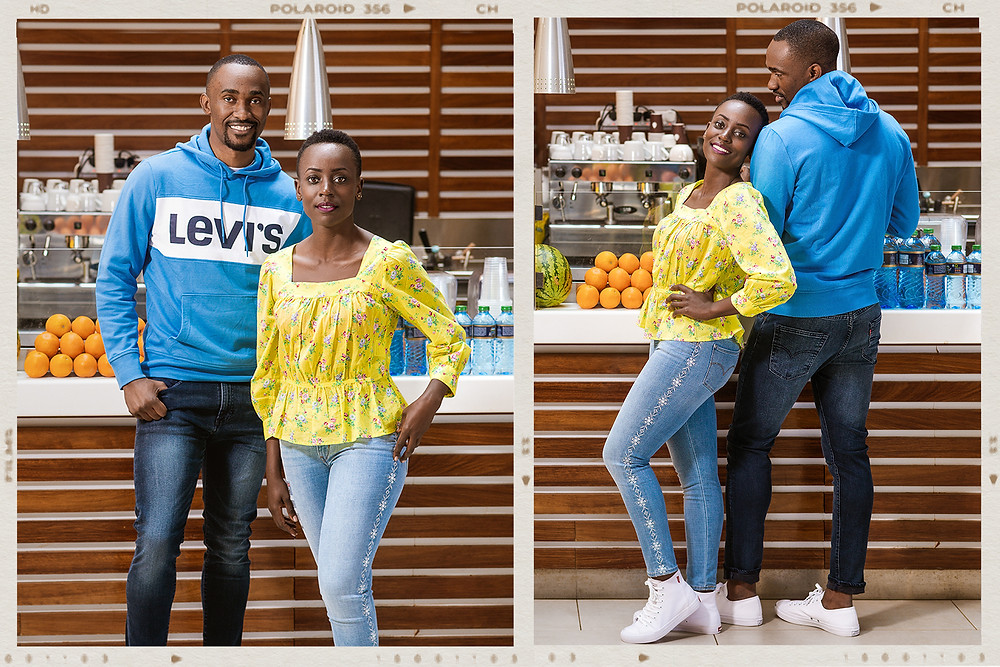 Models modeling Levi brand of clothesand shoes for a clothing shop for their digital marketing campaign at two rivers mall