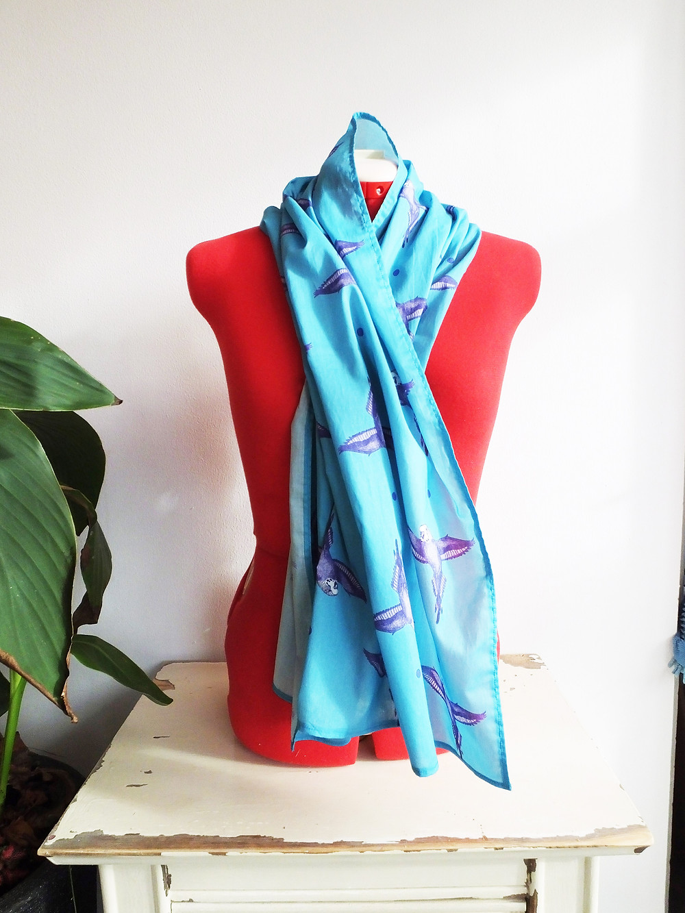 Light blue budgie parakeet scarf Jenny K Home