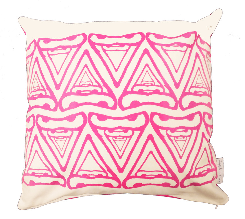Jenny K Home Abstract Cere Pattern Budgie Bird Cushion Pink 1 - transparent-min