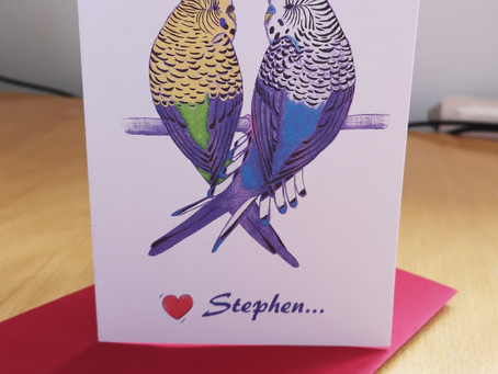Valentine's Day Budgie Card *Personalised* New to Jenny K Home
