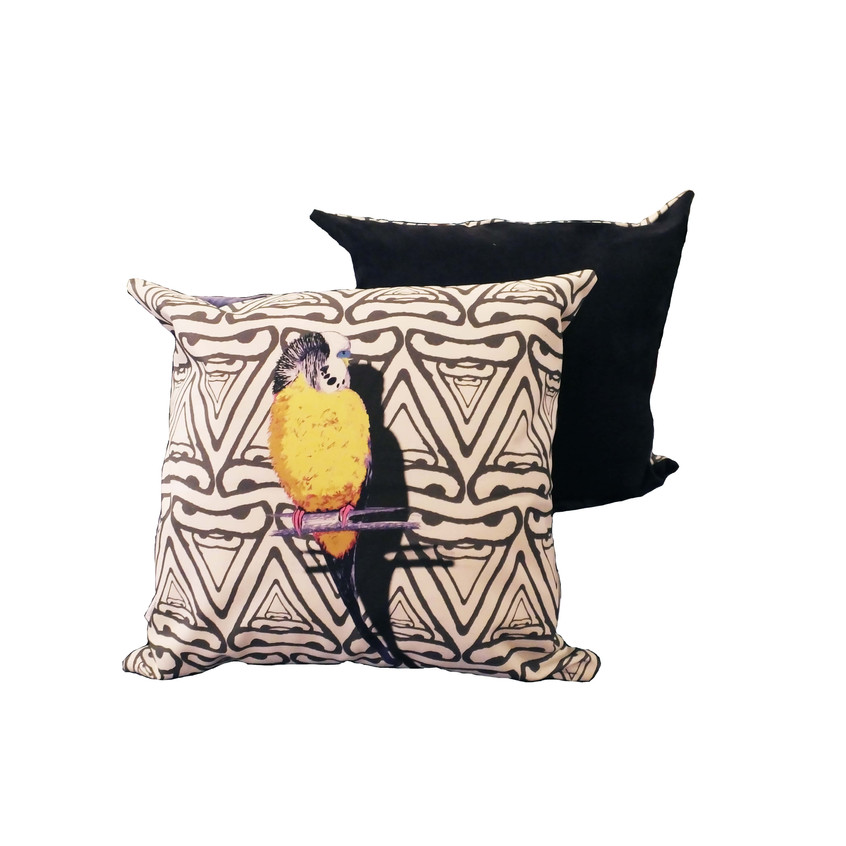 Jenny K Home colour pop budgie cushion yellow black abstract background-min