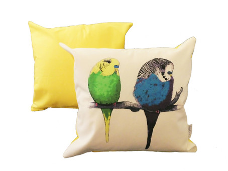 We're too Cute Budgie Cushion - Now in Yellow, Green & Blue