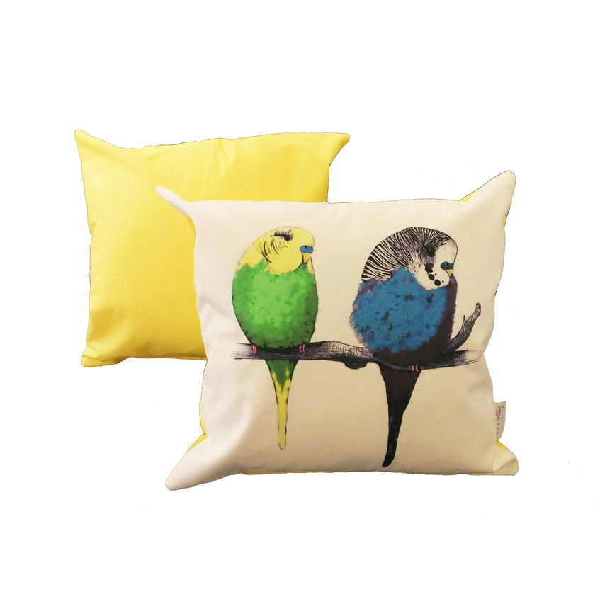 Jenny K Home - Budgie Bird Cushion We're too cute Pattern Multicolour Yellow Back 1-min