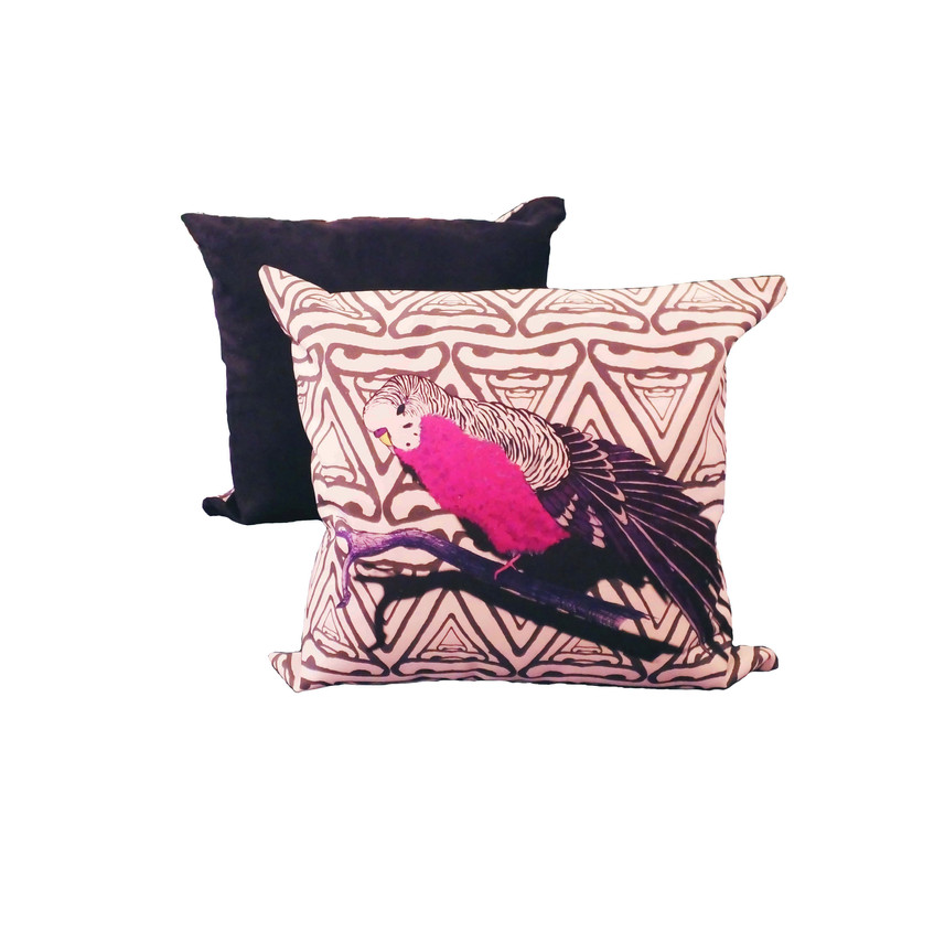 Jenny K Home colour pop budgie cushion pink black abstract background-min
