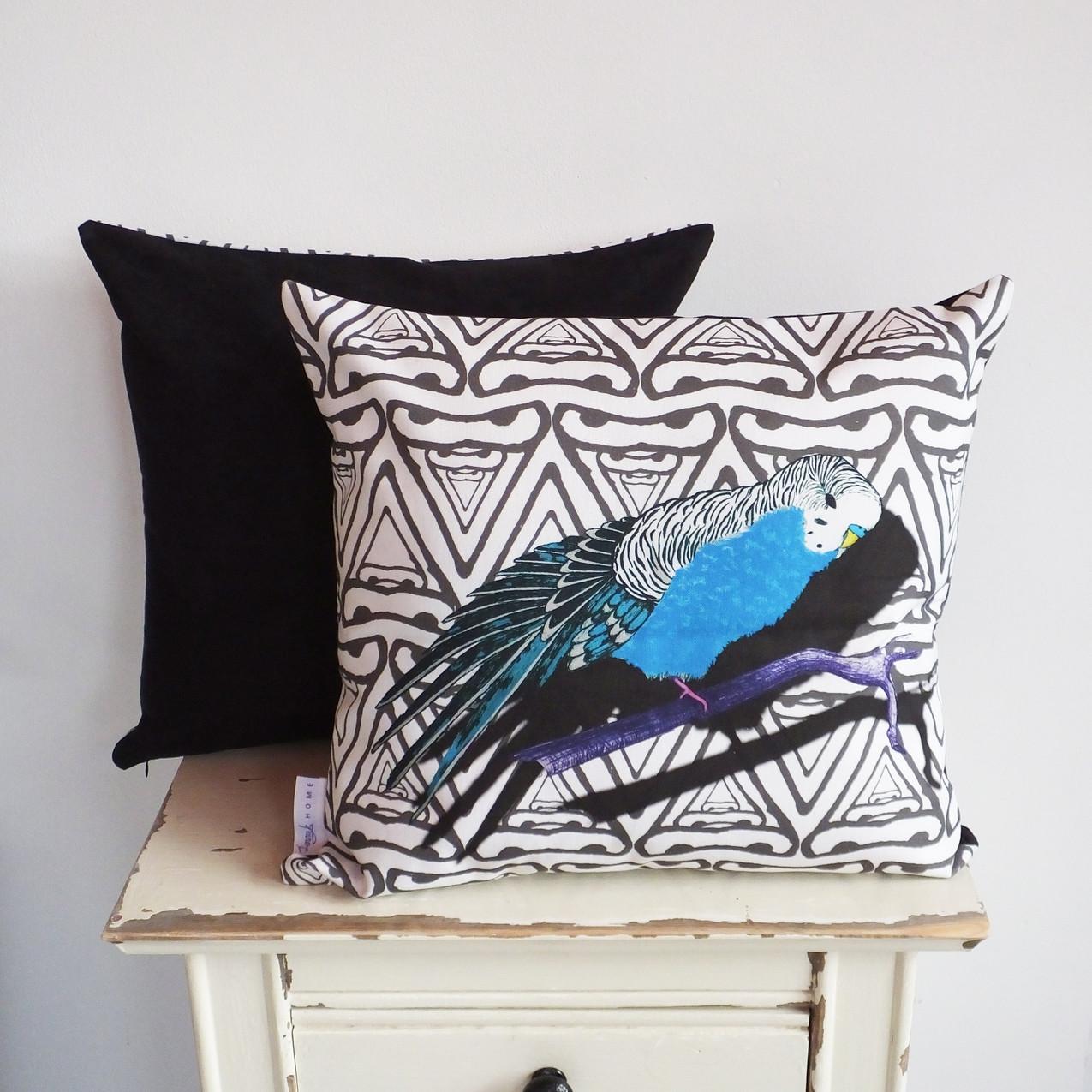 Geometric patterned budgie cushion
