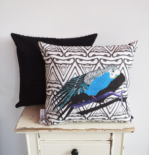 Faux Suede Backed Geometric Blue Stretching Budgie