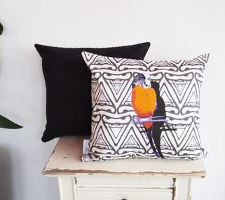 Orange Budgie Geometric Faux Suede Cushion