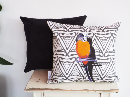 Orange Geometric Patterned Budgerigar Cushion Cover is 'Even Better in Real Life' According