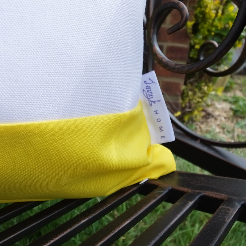 Jenny K Home Spring Summer Cushion Cover 45cm x 45cm - yellow green white - recycled fabric 5 - Earth Day-min