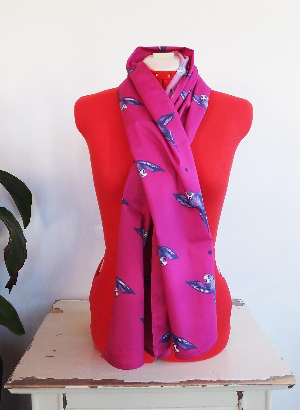 Jenny K Home Magenta Hot Pink Budgie Parakeet Scarf