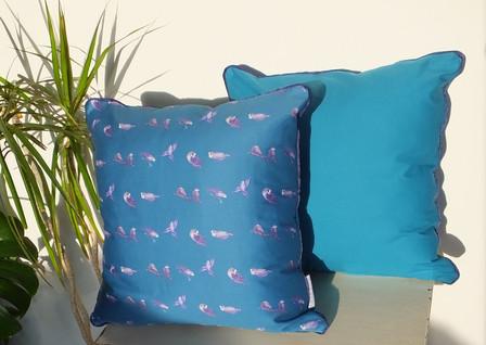 Teal Aqua Budgie Cushion 50cm