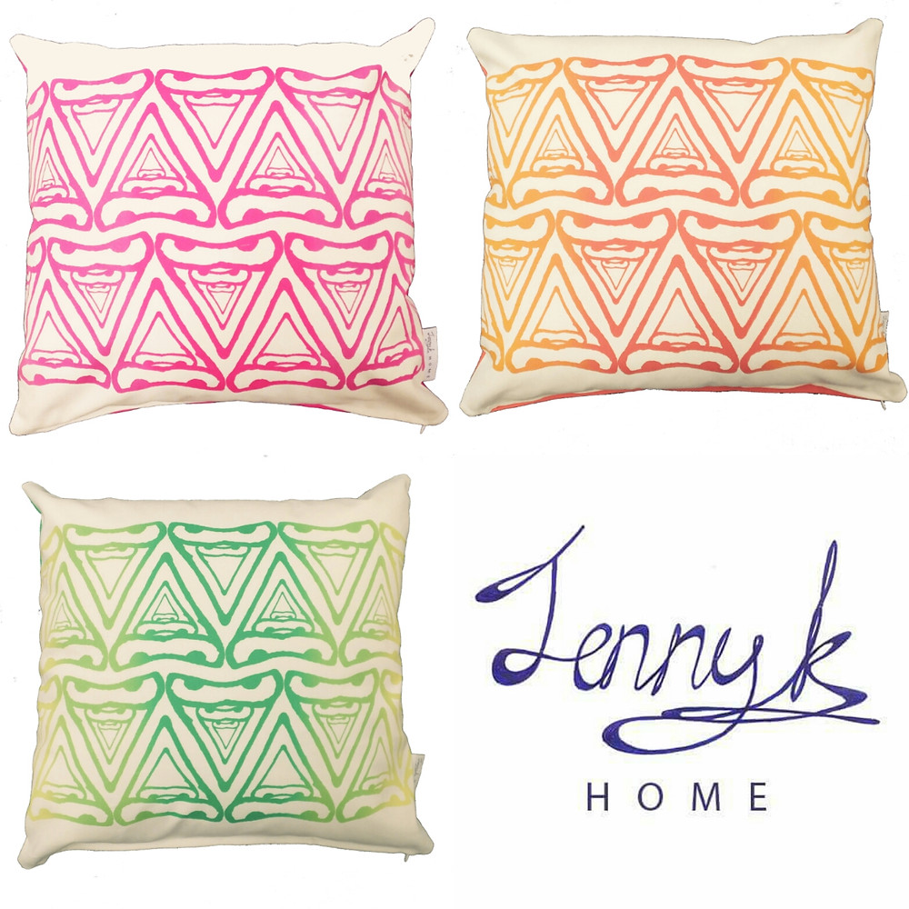 Jenny K Home Abstract Cere Pattern Budgie Bird Cushion Pink Orange Green