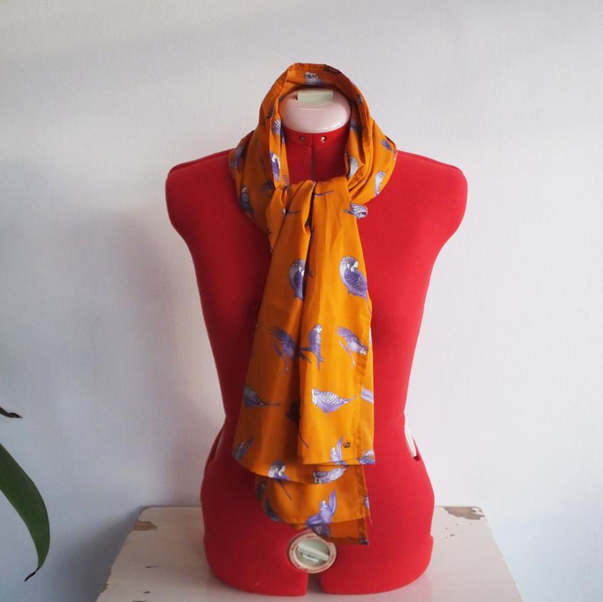 Jenny K Home Bright Orange Budgie Scarf 2-min
