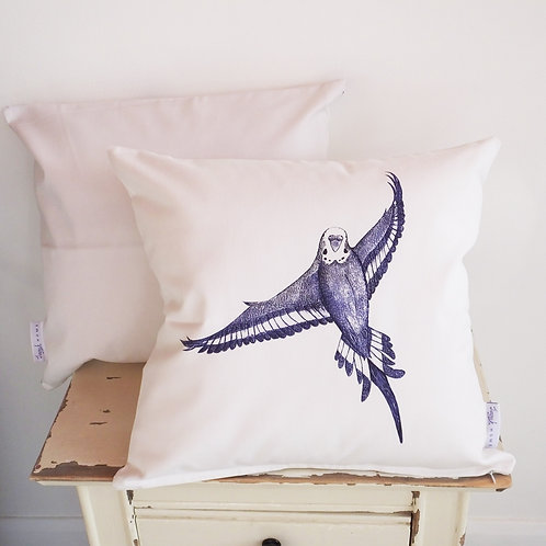 (Bird Portrait) Country-Style Blue & White Budgie Cushion Cover