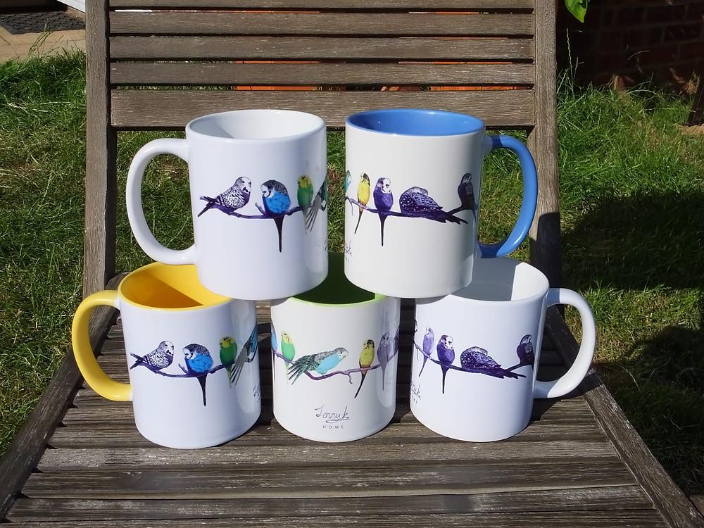 Jenny K Home Colourful New Budgie Mugs
